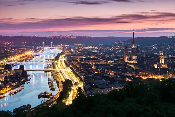 Panorama of Rouen at sunset stock photo