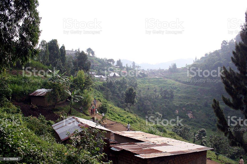 panorama of rural Rwanda stock photo