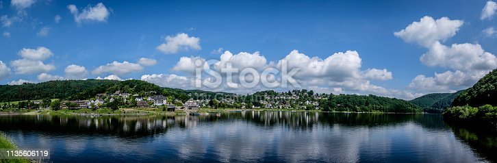 """Panorama of Rurberg, District of Simmerath located at the Rursee Reservoir Lake in the """"cities region"""" Aachen, Germany"""
