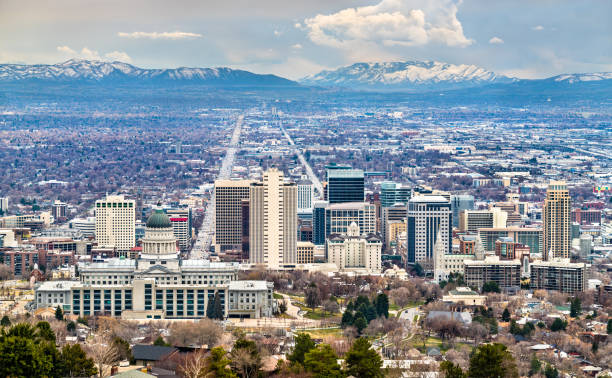 Panorama von Salt Lake City in Utah – Foto