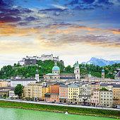 Panoramic view of Salzburg, Austria. Composite photo