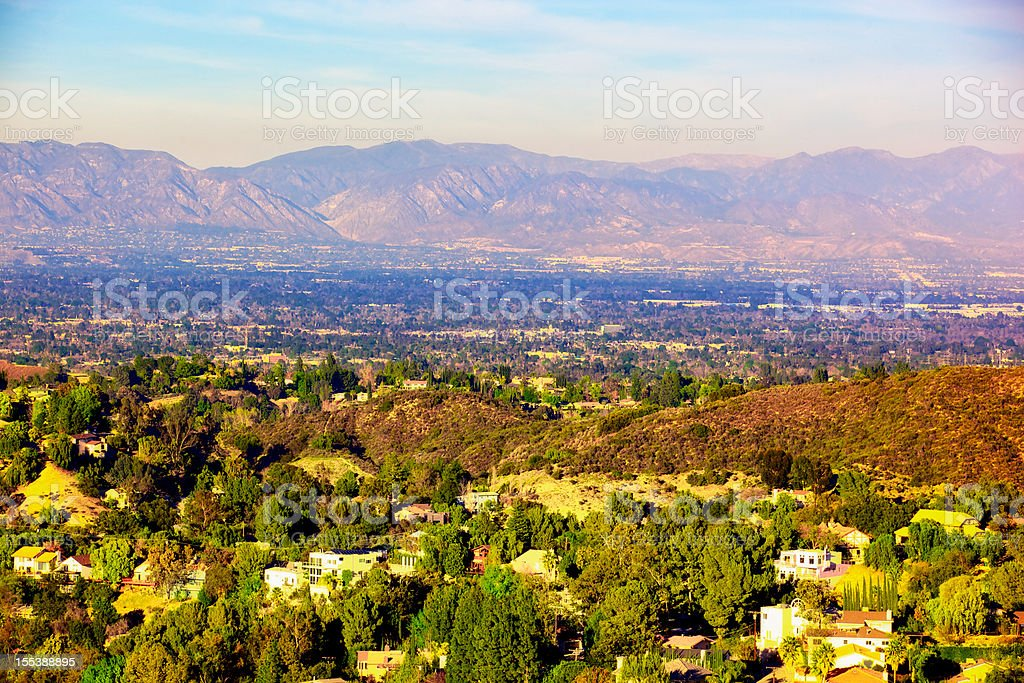 Panorama of San Fernando Valley Los Angeles California stock photo