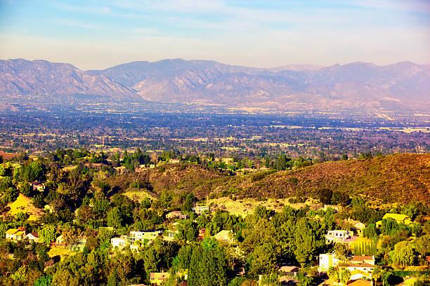 panorama of san fernando valley los angeles california - san fernando valley stock photos and pictures