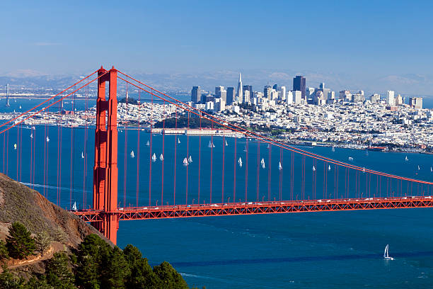 Panorama of San Francisco cityscape and Golden Gate Bridge stock photo