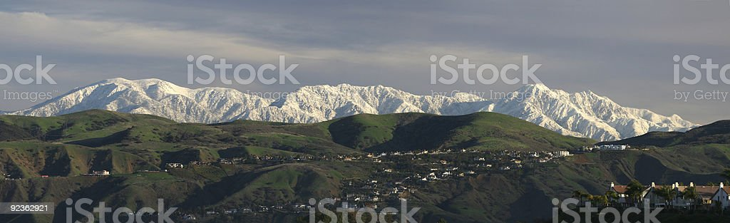 Panorama of San Gabriel Mountains stock photo