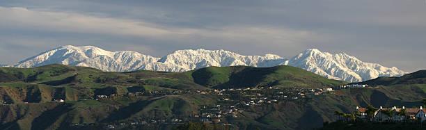 Panorama of San Gabriel Mountains stock photo