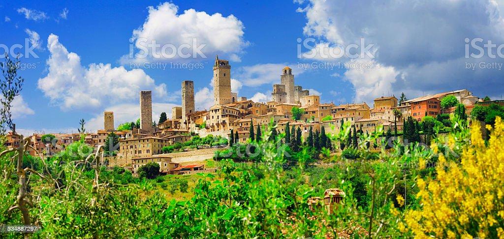 Panorama of San Gimignano, Tuscany. Italy stock photo