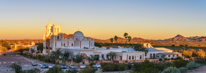 istock Panorama of San Xavier Mission Church in Tucson, Arizona, at sunrise 1156888558