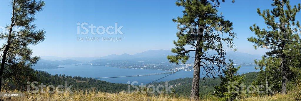Panorama of Sandpoint, Idaho stock photo