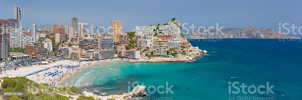 Panorama of scenic bay in Benidorm stock photo