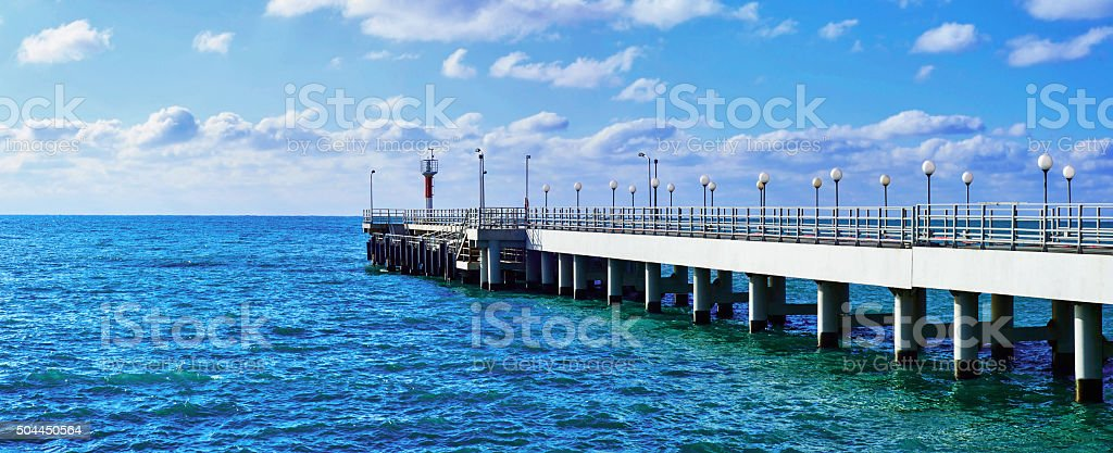 Panorama of sea pier at summer day stock photo