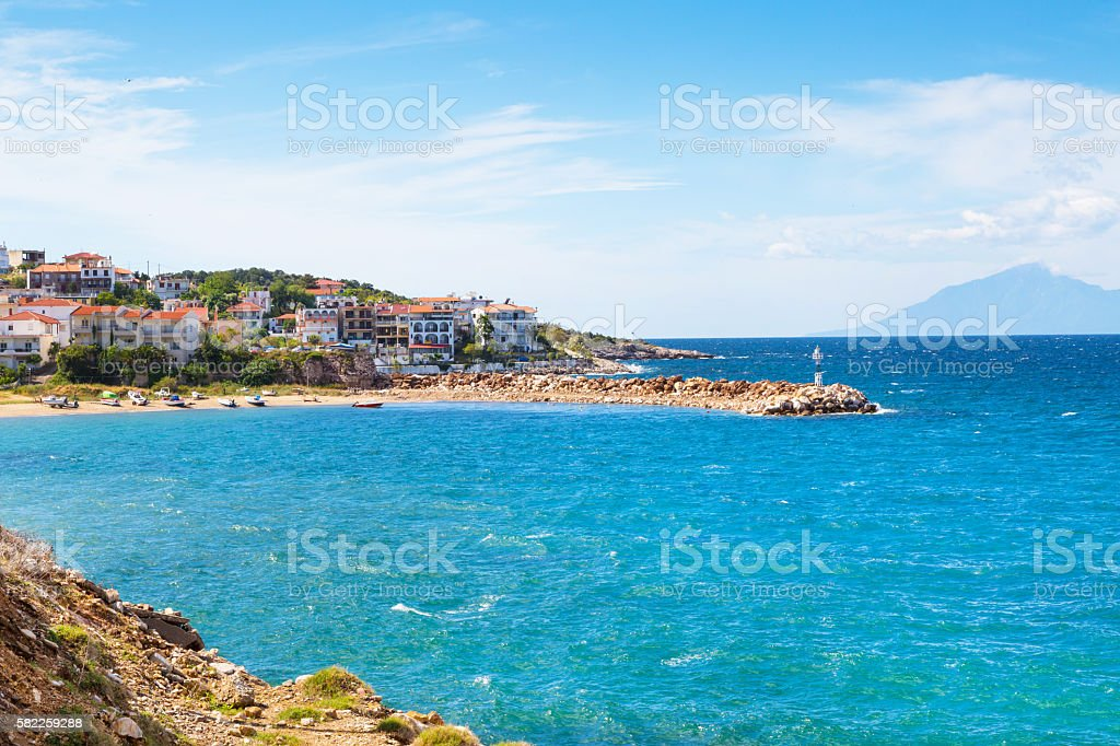 Panorama of seascape, town and coast, Thassos Island, Greece stock photo