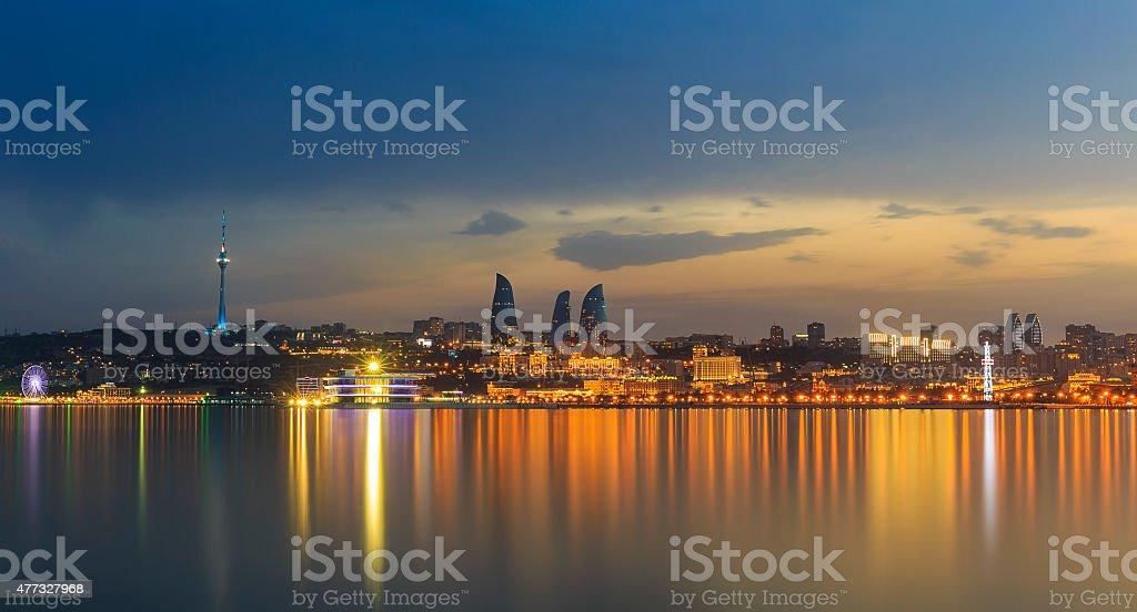 Panorama of seaside boulevard in Baku Azerbaijan stock photo