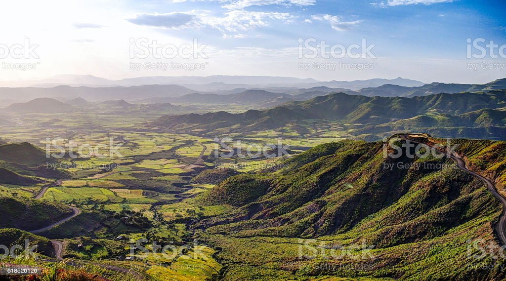 Panorama of Semien mountains and valley around Lalibela Ethiopia stock photo