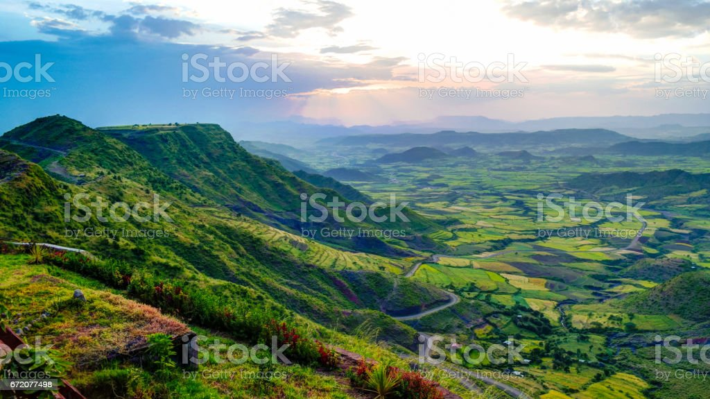 Panorama of Semien mountains and valley around Lalibela Ethiopia stock photo