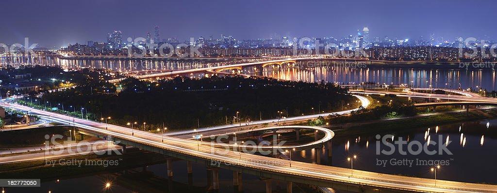 Panorama of Seoul at Night stock photo