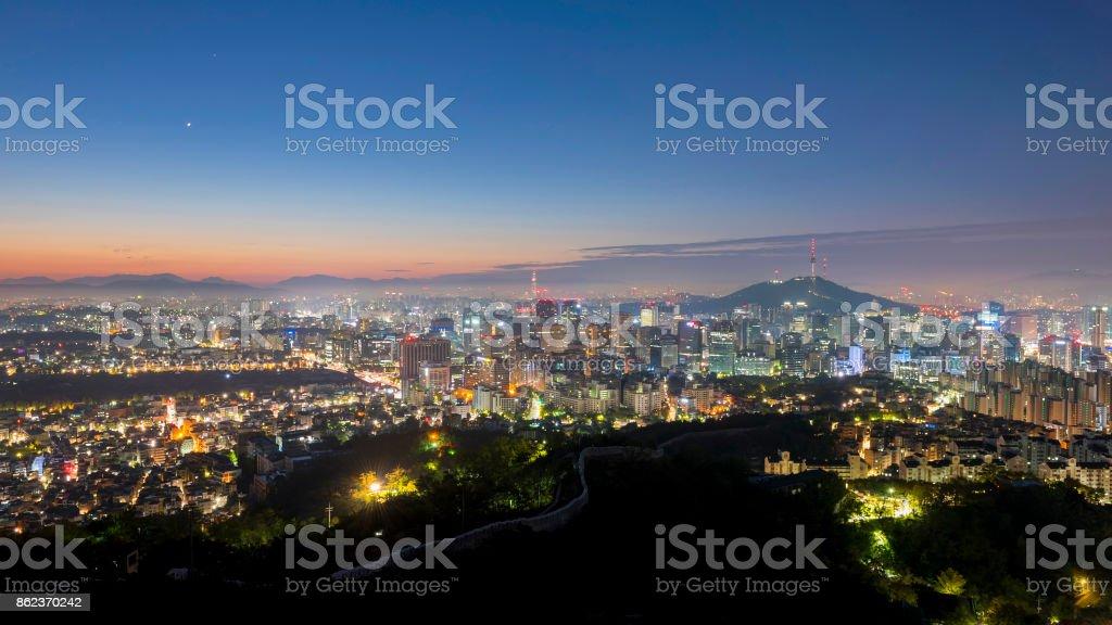 Panorama of Seoul City Skyline , South Korea stock photo