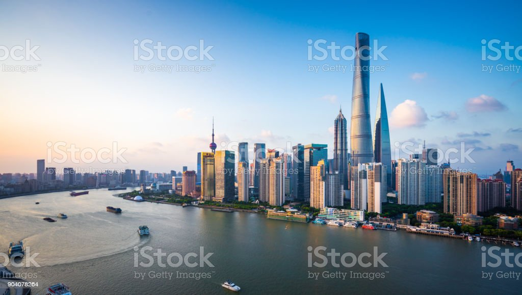 Panorama of Shanghai Skyline stock photo