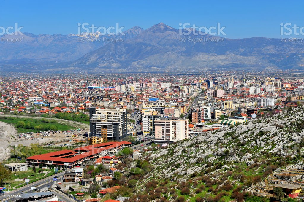 Panorama of Shkoder city under mountains, Albania stock photo