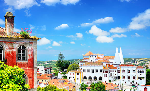 panorama of sintra - portugal stock photos and pictures