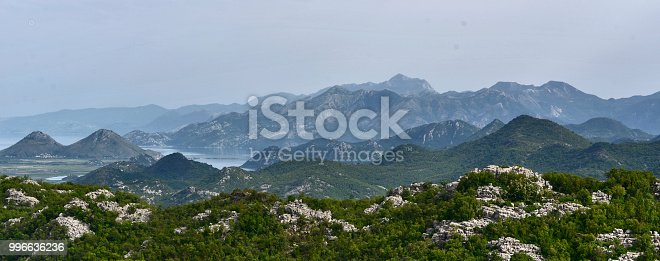 Panorama of Skadar Lake with numerous islands on it