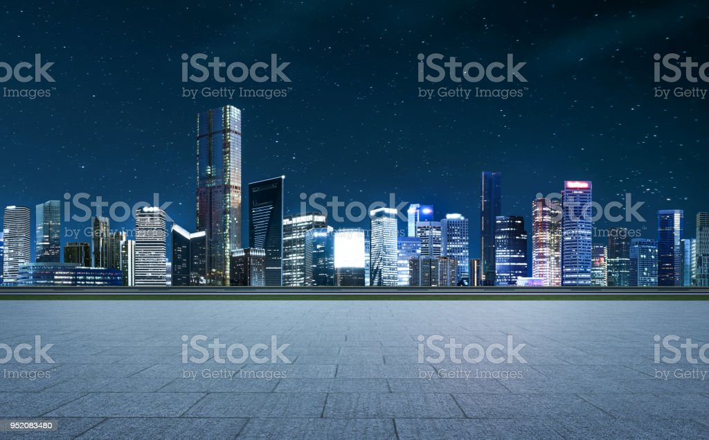 Panorama of skyscrapers in a modern city stock photo