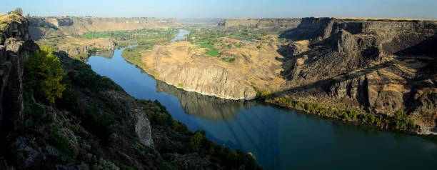 Panorama of Snake River looking West at Twin Falls, Idaho stock photo