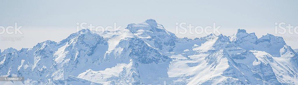 Panorama of Snow Mountain from Jungfrau Region royalty-free stock photo