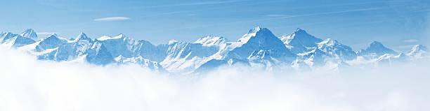 panorama of snow mountain landscape alps - snowy mountains stock photos and pictures