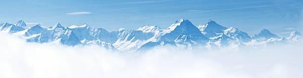panorama of snow mountain landscape alps - snötäckt bildbanksfoton och bilder