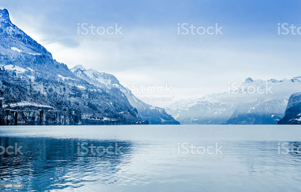 Panorama of Snow Mountain. Winter in the swiss alps. royalty-free stock photo