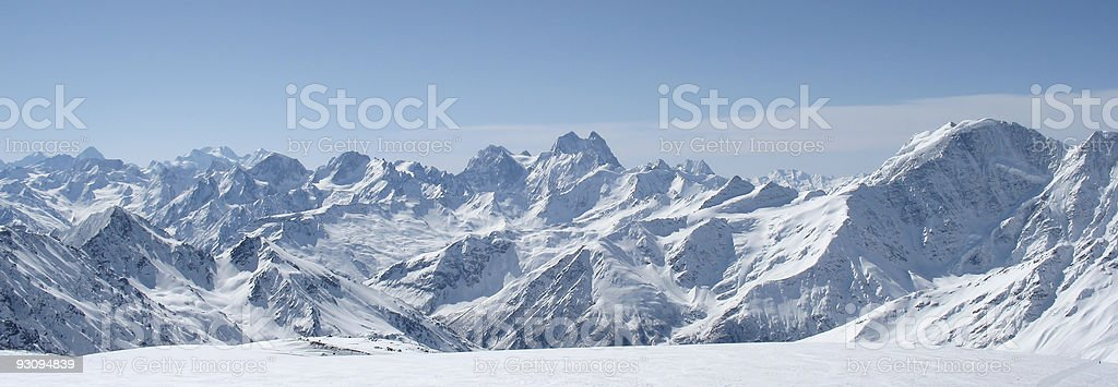 Panorama of snow on the Caucasus Mountains in winter royalty-free stock photo