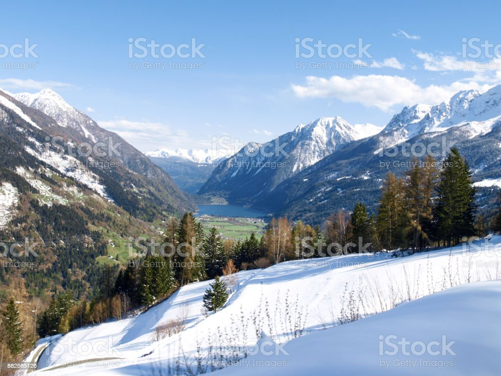 Panorama of snowy climbed stock photo
