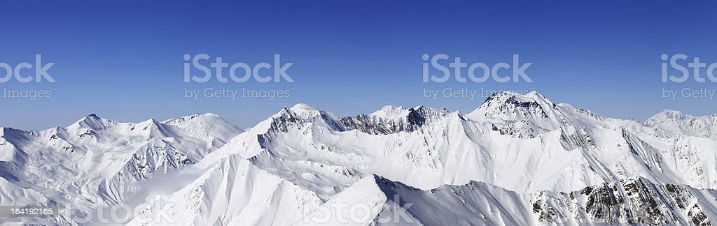Panorama of snowy mountains royalty-free stock photo