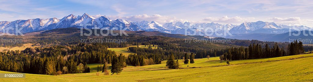Panorama of snowy Tatra mountains in spring, south Poland stock photo