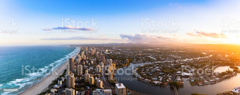 Panorama of Southern Gold Coast looking towards Broadbeach stock photo