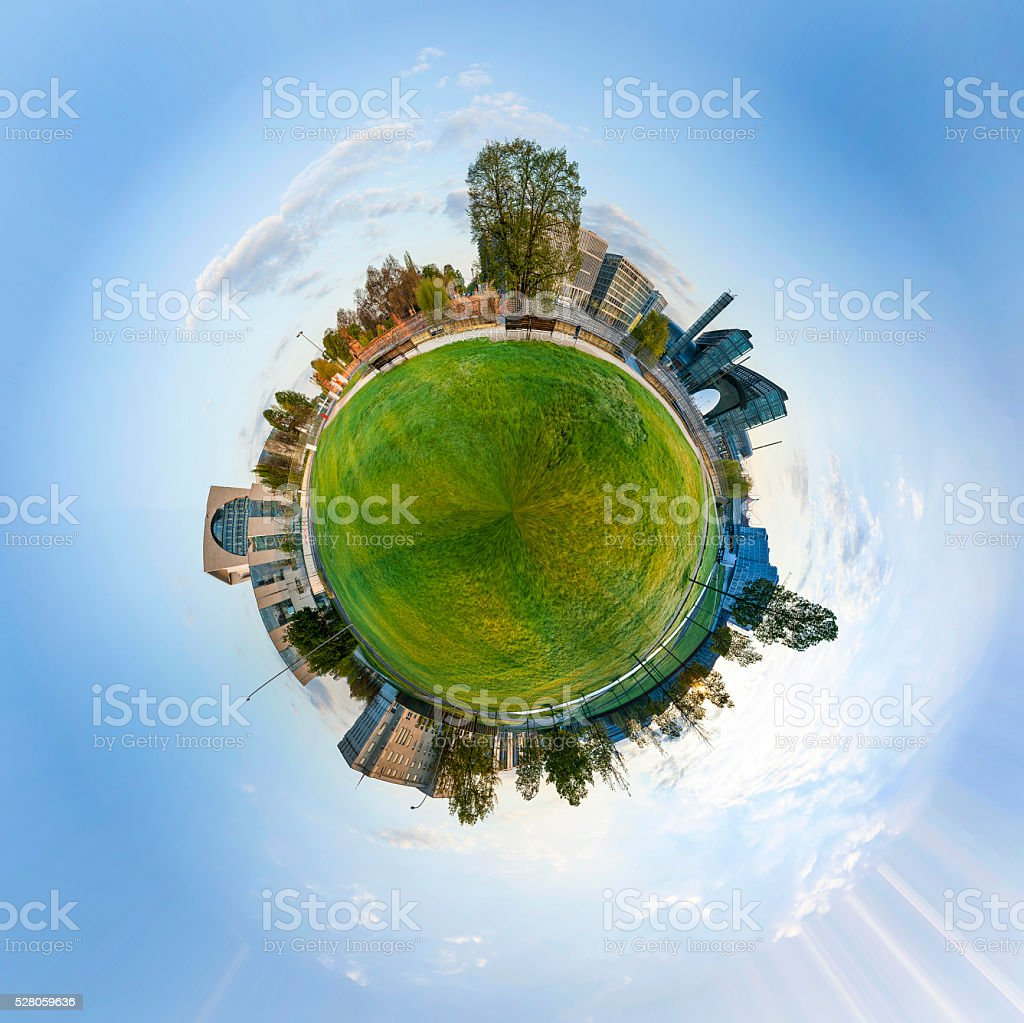 panorama of Spreebogen park in Berlin with government buildings stock photo