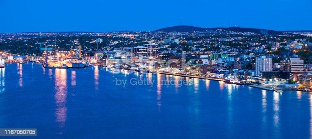 Panorama of St. John's at night.  St. John's, Newfoundland and Labrador, Canada.