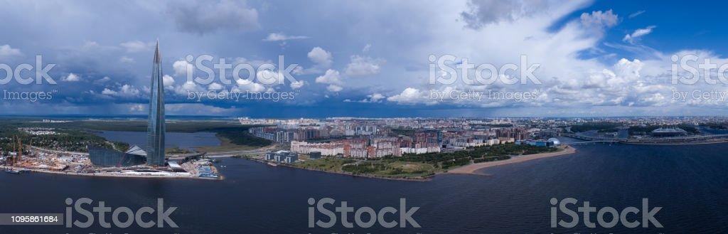 Panorama of St. Petersburg Lakhta Center - Zbiór zdjęć royalty-free (Architektura)