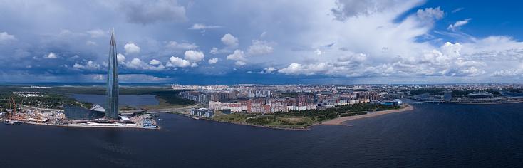 Panorama Of St Petersburg Lakhta Center - zdjęcia stockowe i więcej obrazów Architektura