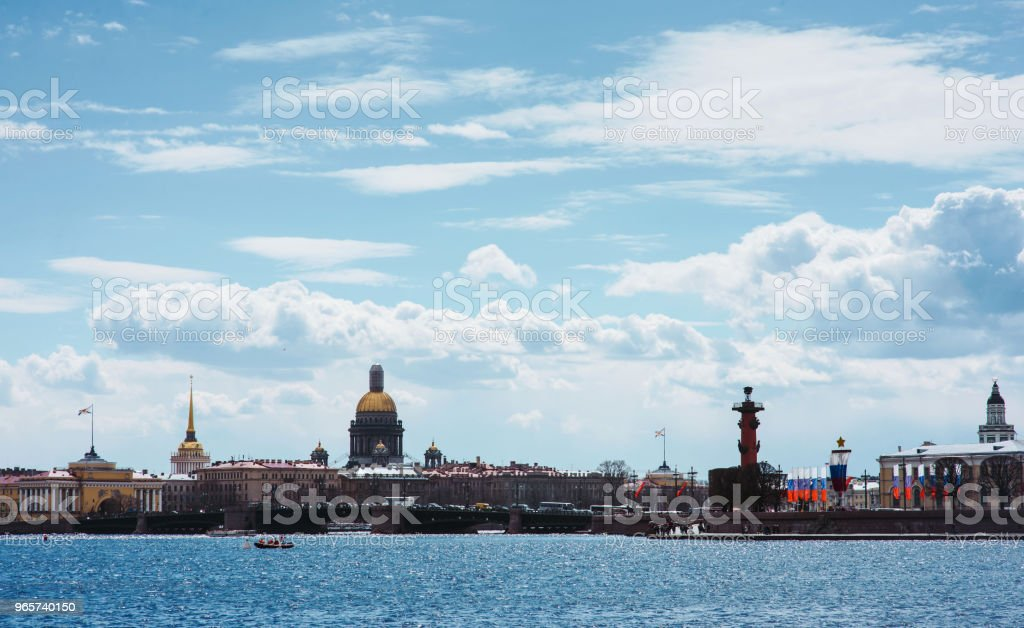 Panorama of St Petersburg, Russia, with Palace bridge over Neva river, golden dome of St Isaac cathedral, Admiralty building and Rostral Column - Royalty-free Architectural Column Stock Photo