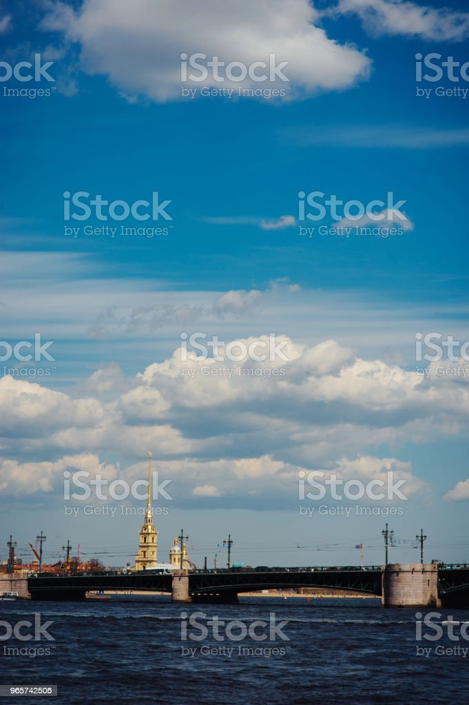 Panorama of St Petersburg, Russia, with Palace bridge over Neva river, golden dome of St Isaac cathedral, Admiralty building and Rostral Column - Royalty-free Architectural Dome Stock Photo
