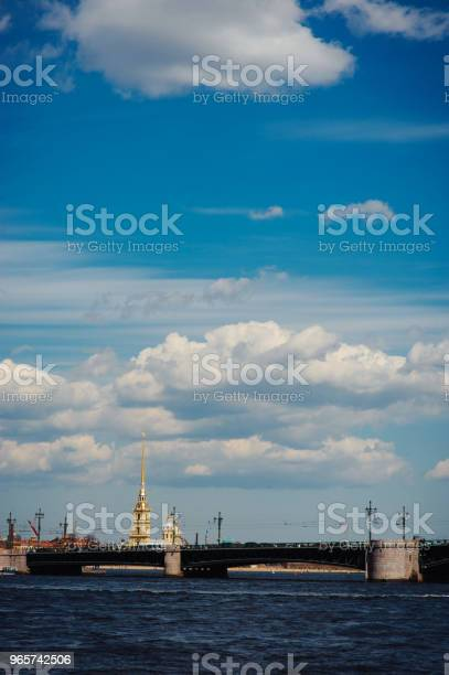 Panorama Of St Petersburg Russia With Palace Bridge Over Neva River Golden Dome Of St Isaac Cathedral Admiralty Building And Rostral Column Stock Photo - Download Image Now