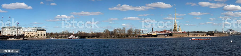 Panorama of St. Petersburg. View of the Peter and Paul Fortress. royalty-free stock photo