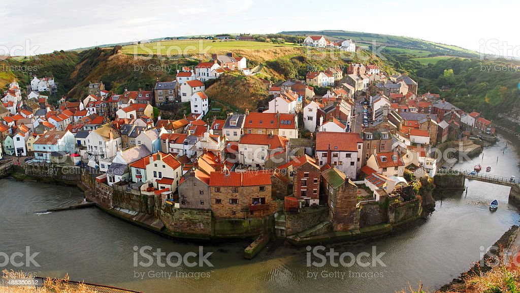 Panorama of Staithes Fishing Village, North Yorkshire stock photo