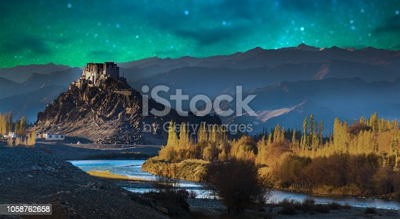 Panorama of Starry night in Norther part of India nature and landscape view in Leh ladakh india