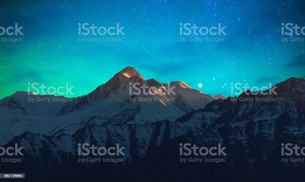 Panorama of Starry night in Norther part of India stock photo