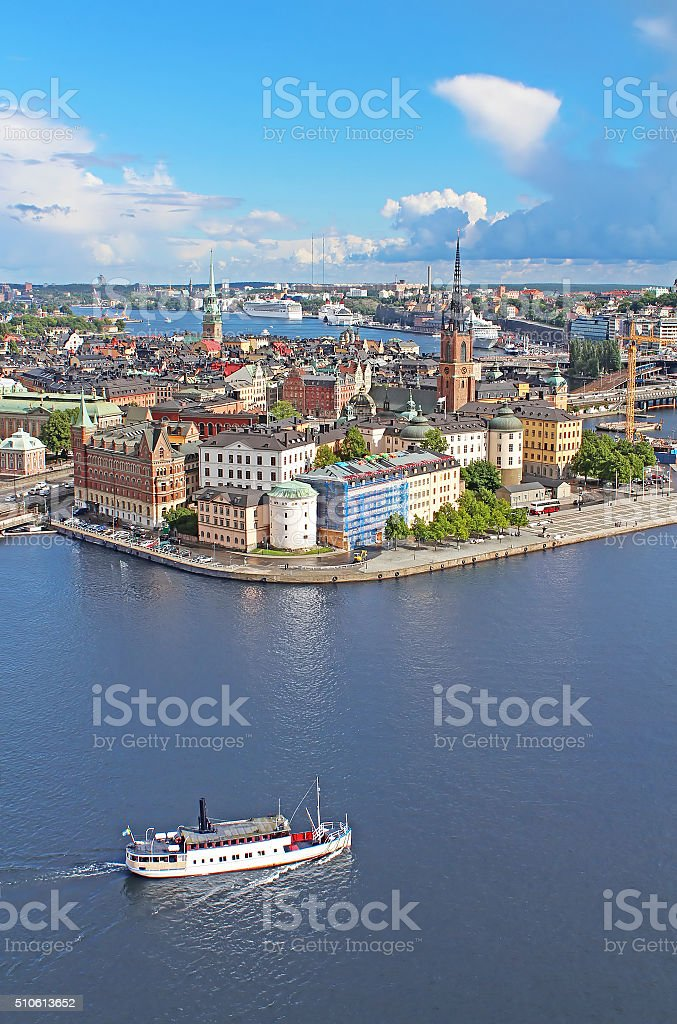 Panorama of Stockholm Old City and boat, Sweden stock photo