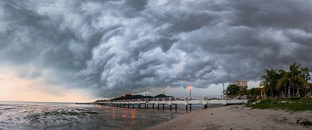 panorama of storm view in george town penang, malaysia - free images for downloads stock photos and pictures