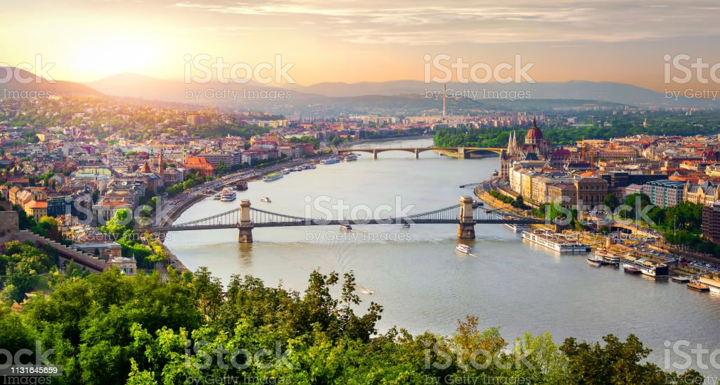 Panorama of summer Budapest Panoramic view of summer Budapest at sunset Ancient Stock Photo